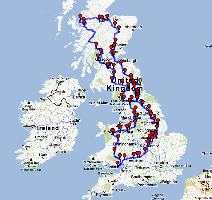 Map of my route and waypoint