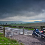 UK Road trip on a Blue Aprilia Futura