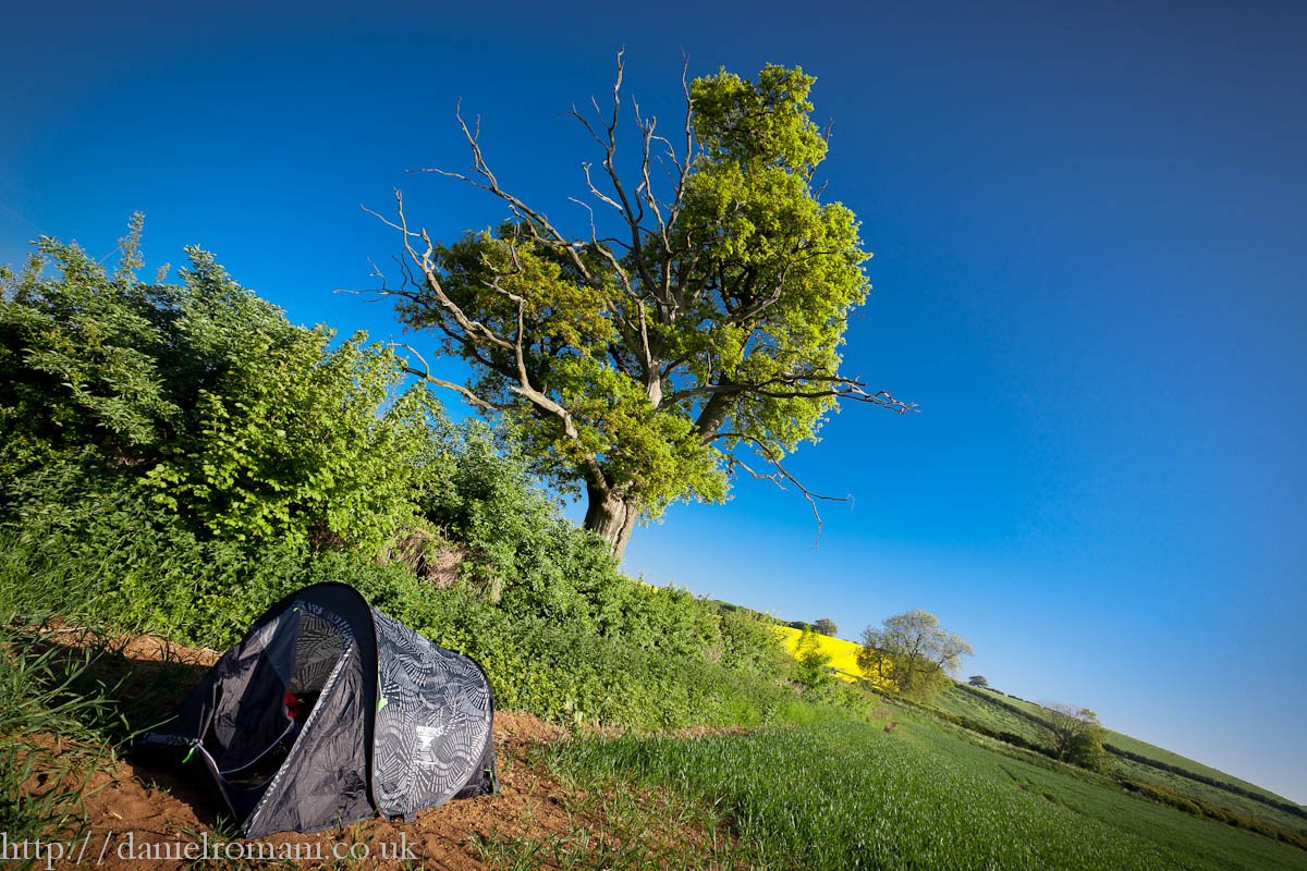 Tent pitched in a farmers field!