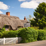 Cottage with thatched roof.