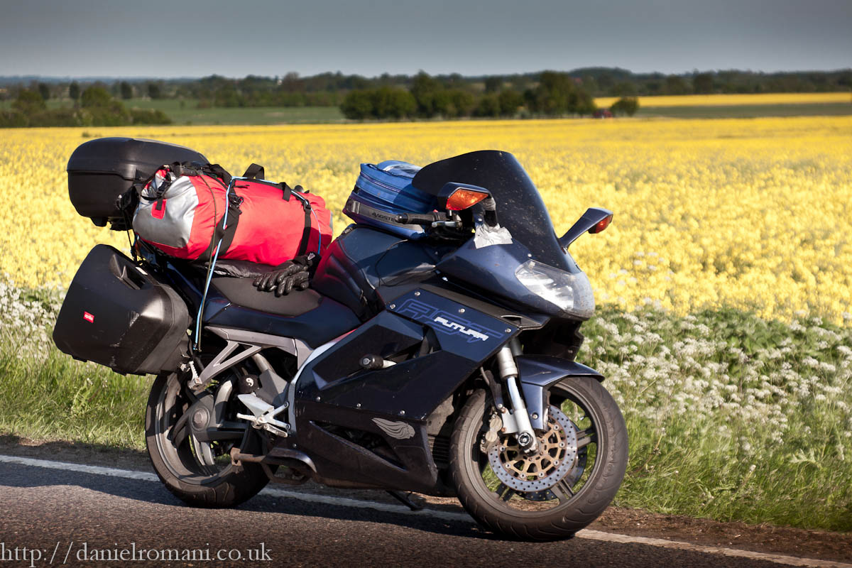 Aprilia Futura with luggage
