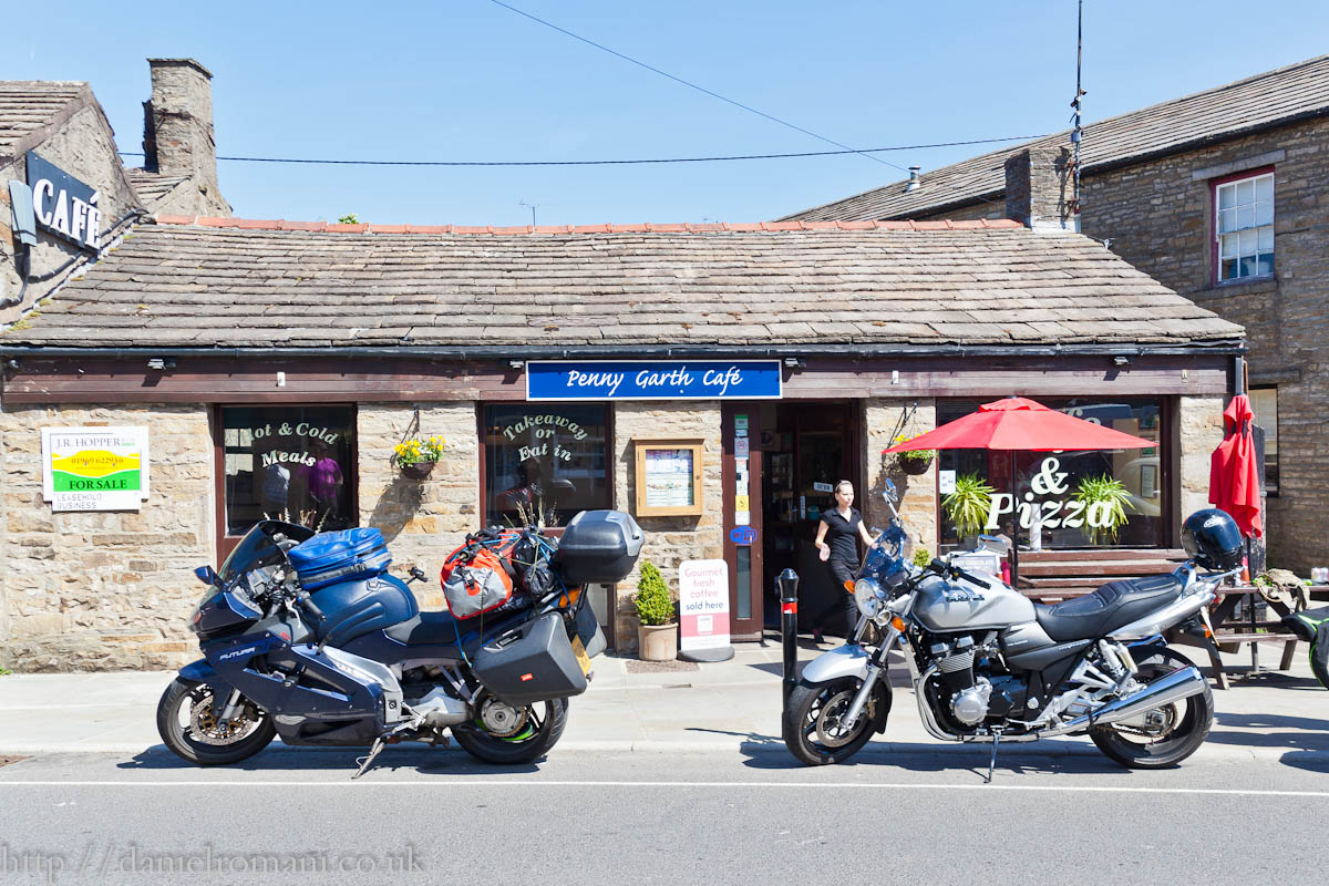Not many biker's at Penny Garth Cafe , Hawes, this morning.
